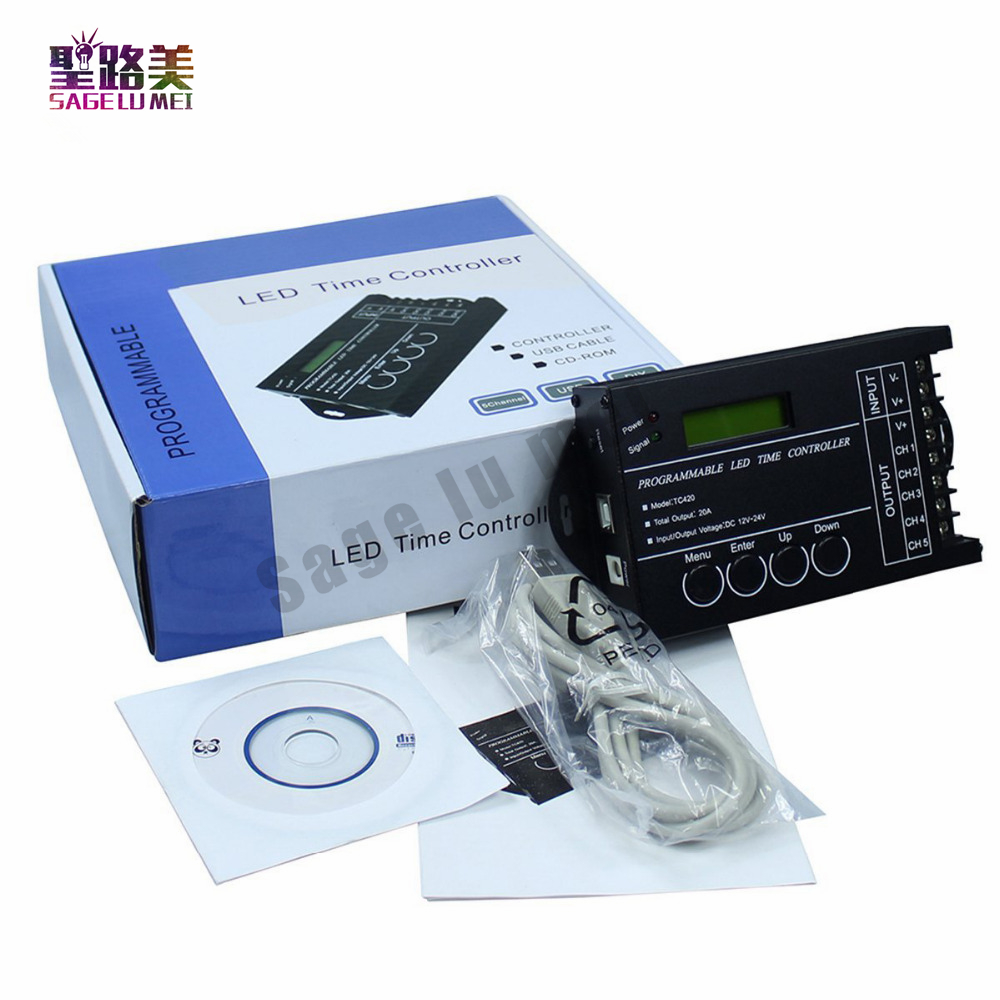 DC12V 24V TC420 TC421 Programmable 5CH RGB Led Strip Light Time Wifi Controller Dimmer Used In Aquariums, Fish Tank, Plant Grow