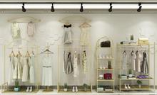 Shop rack, gold wall landing combination of men and womens clothing store hanger nano-gold rack