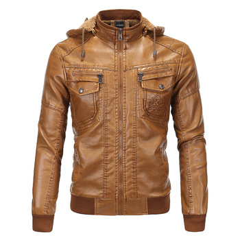 Hyweacvar Motorcycle Biker Classic Vintage Leather Jacket Jaqueta Couro Detachable Hooded Bomber Jacket Faux Leather Male Coats