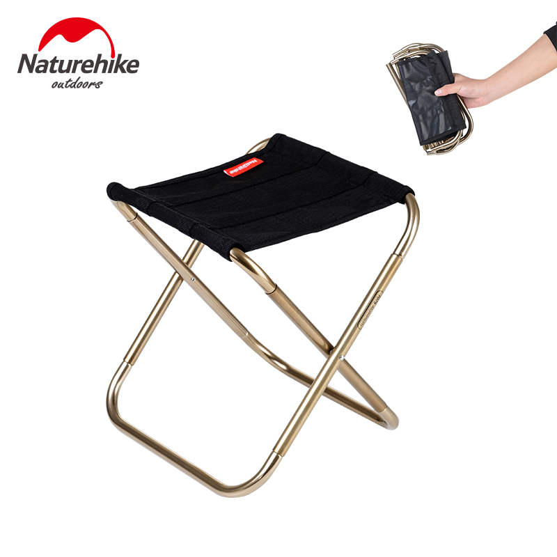 Naturehike Factory Store Outdoor Portable Oxford Aluminum Folding Step Stool Camping Fishing Chair Camping Equipment 243g outdoor traveling camping tripod folding stool chair foldable fishing chairs portable fishing mate fold metal chair