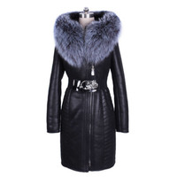 Plus Size 8XL 2019 New Women Winter Real Fur Long Coat Slim Fit Snow Overcoat Motor Biker Fur Hoody Leather Windbreaker Jacket