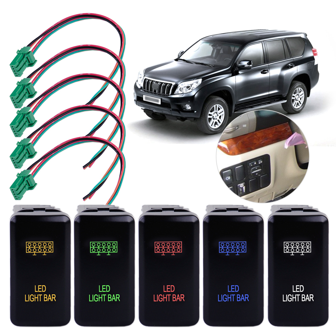 Citall 12v Led Fog Light Push Button Switch With Harness Wire Fit 2007 Wrx Wiring For Toyota Fj Cruiser Prado Landcruiser Hilux Tacoma In Car Switches Relays From