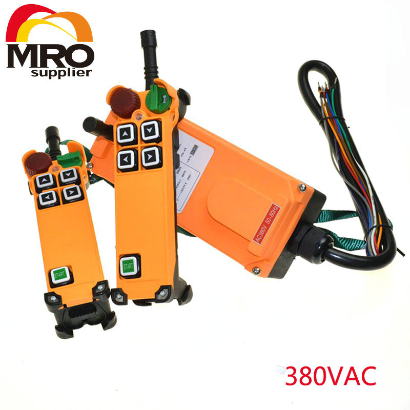 цена на OBOHOS 4 Channel 1 Speed 2 transmitters Hoist Crane Truck Radio Remote Control System with E-Stop XH00056
