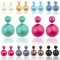 High Quality Double Faced Imitation Pearl Matte Resin Ball Ear Studs Candy Colors Women's Fashion Jewelry Originality Earrings