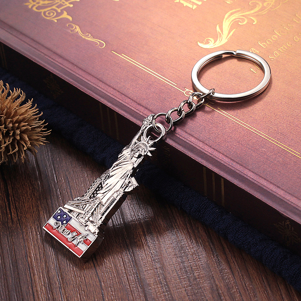 Vicney New Arrival New York 3D Keychain Zinc Alloy Statue Of Liberty Key Chain As Gift For Best Friend New York Souvenir Keyring