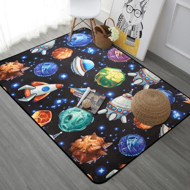 Planeten Raumschiff Teppich Kinderzimmer Jungen Cartoon Schlafzimmer