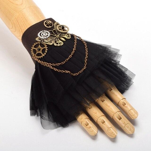 1pc Steampunk Gear Black Lace Bracelet Victorian Vintage Lolita Wrist Cuff