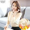 Hot Sale  Spring and Autumn 2016 New Arrival Women Tops Lace Silk Blouse Long Sleeved Female Casual Fashion Korean Shirt 336J 30