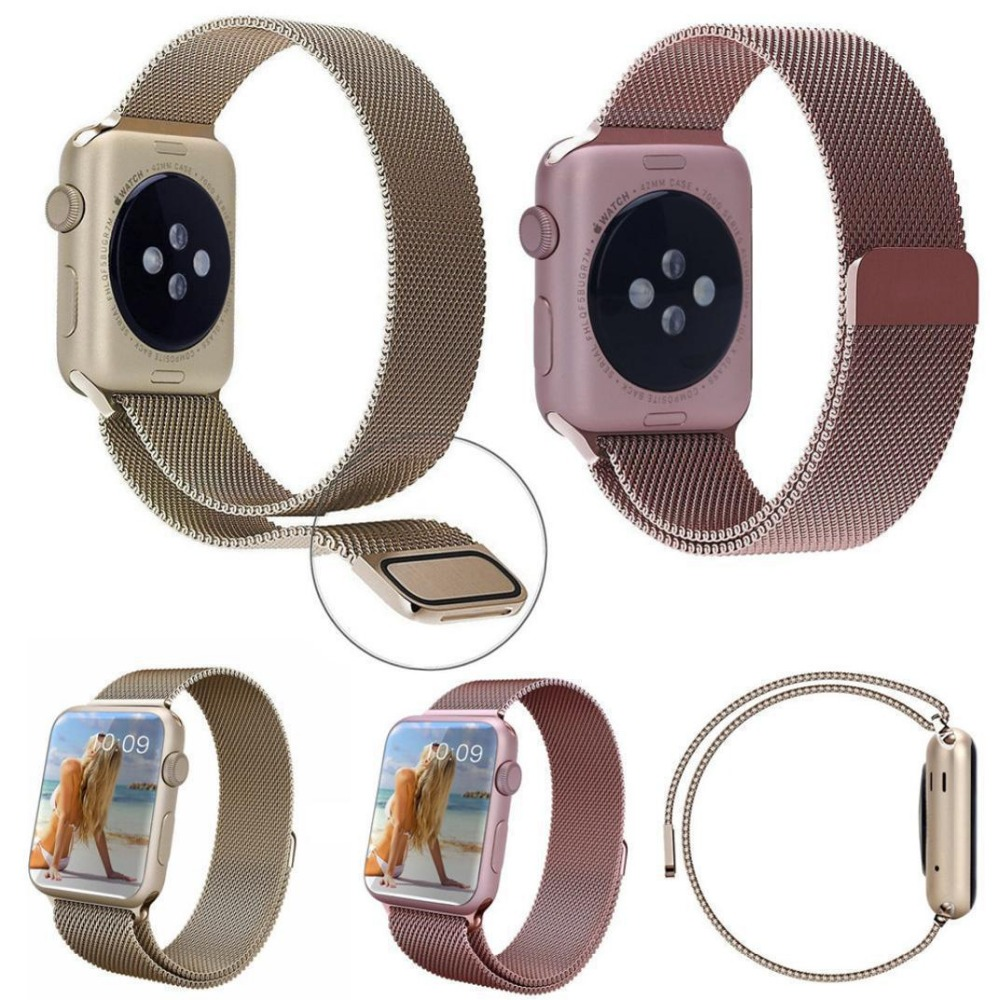 10PCS 1:1 Magnetic Buckle Bracelet Milanese Loop watchbands Stainless Steel band for apple watch 38mm / 42mm Watchband 5 colors