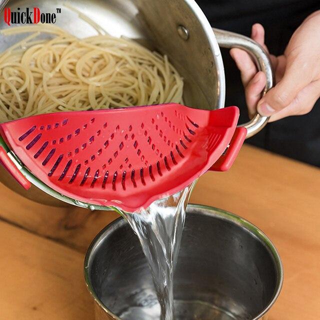 Quickdone silicona colador agua líquida Embudos espaguetis macarrones  bateador clip deflector anti-derrame herramienta pan. Sitúa el cursor  encima para ... a22c36f55a78