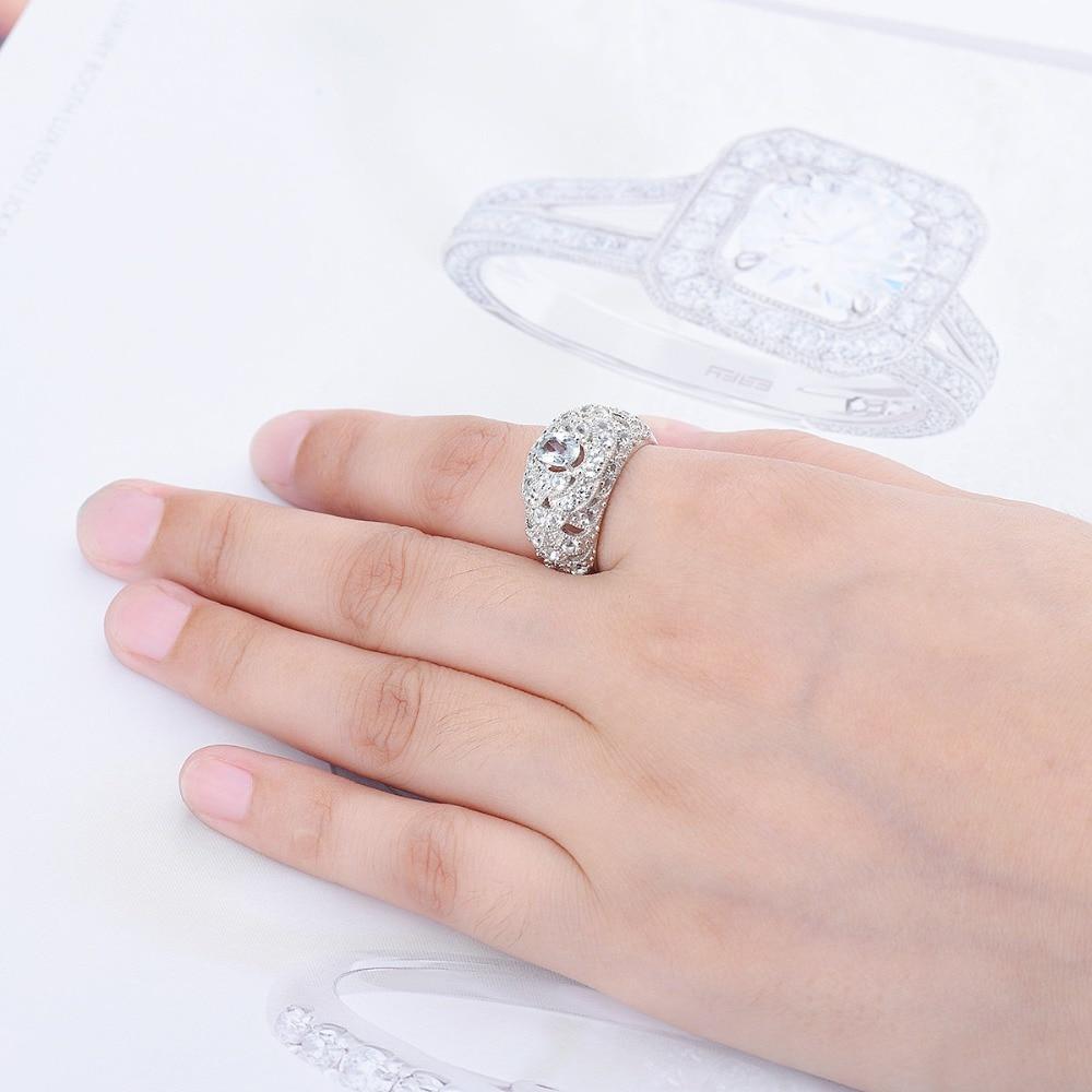 Anillo de boda de plata Hutang piedra preciosa Natural aguamarina sólida piedra fina de Ley 925 joyería de boda para mujer regalo nuevo-in Anillos from Joyería y accesorios    2