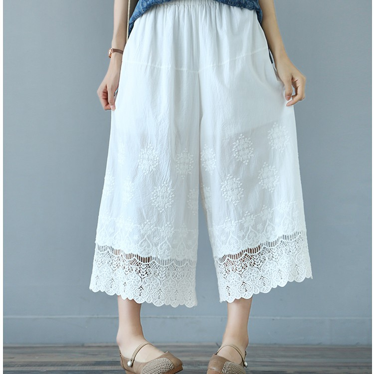 Sweet lolita cotton 100% loose mori girl loose   pants   hollow out lace patchwork   wide     leg     pants