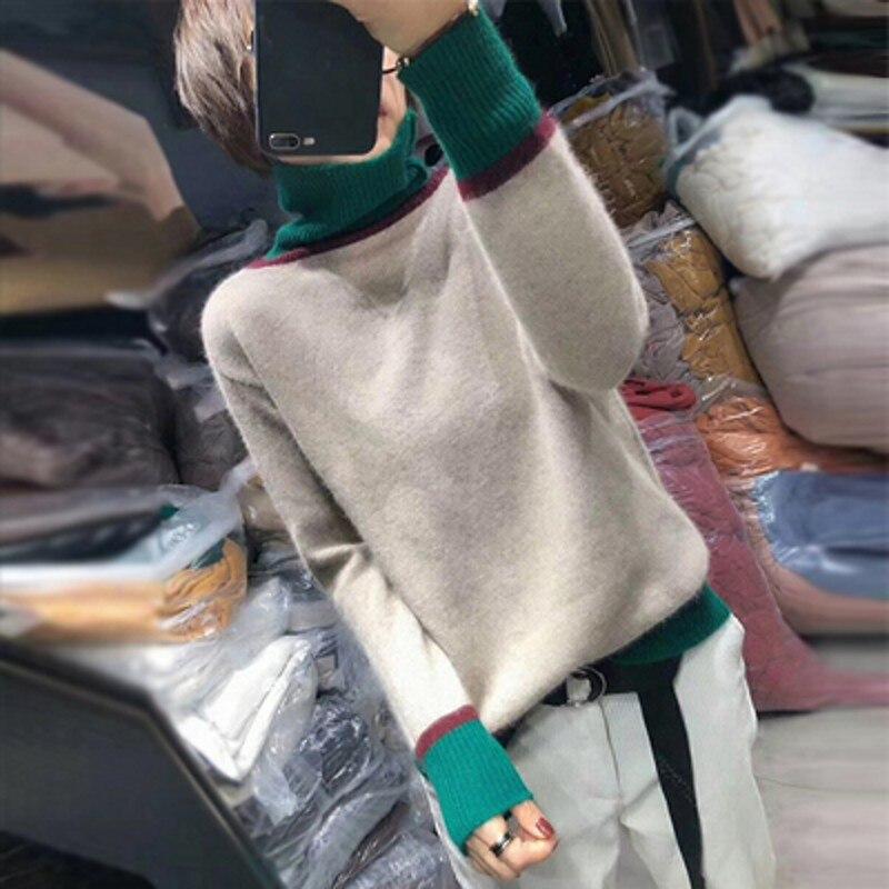 Inverno feminino 2019 camisola de gola alta manga comprida camisola de malha feminina e camisola de caxemira de malha