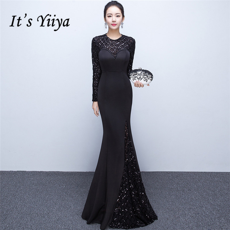 It's Yiiya   Evening     dress   Elegant O-neck Long sleeves Mermaid Party Gowns Sequined Floor-length Zipper back Prom   dresses   C220