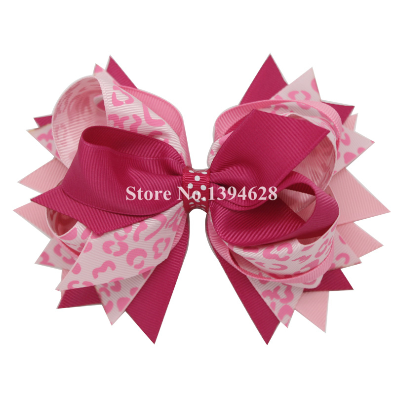 USD1.88/PC 5.5Inches Pink Leopard Print Stacked  Bows With 6cm Hair Clip,Polyester Bows For Girls Hair Accessories диван пижон принцесса pink leopard 136142