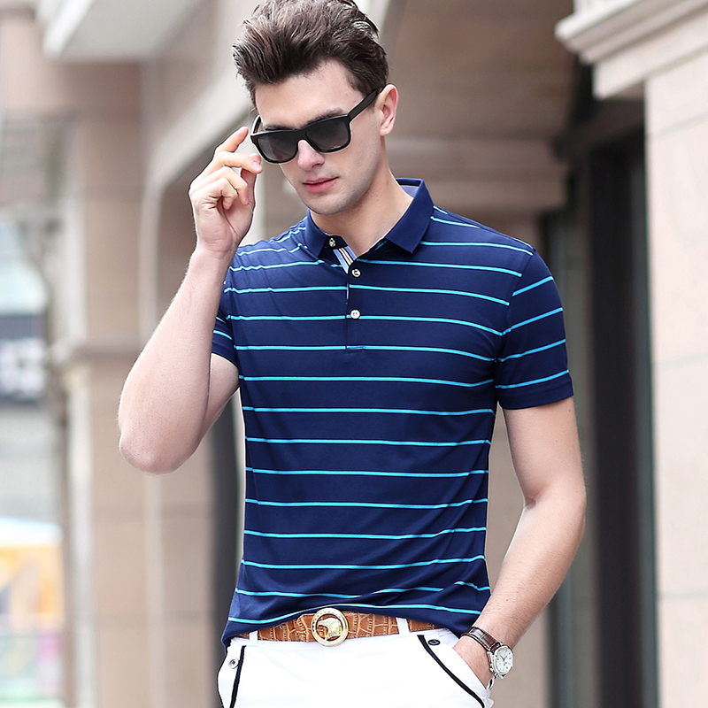 2019 New Fashion Brand Summer   Polo   Shirt Men Striped Top Grade Slim Fit Short Sleeve British Style Poloshirt Casual Men Clothing