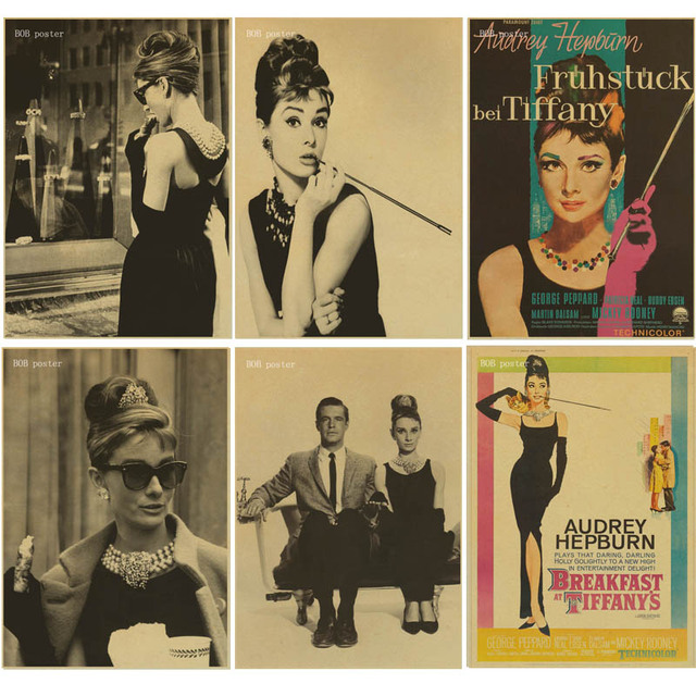 Breakfast At Tiffany\'s actor Audrey Hepburn poster kraft paper ...