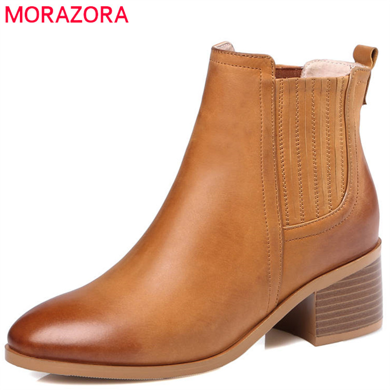 MORAZORA 2020 top quality genuine leather boots pointed toe slip on ankle boots for women fashion