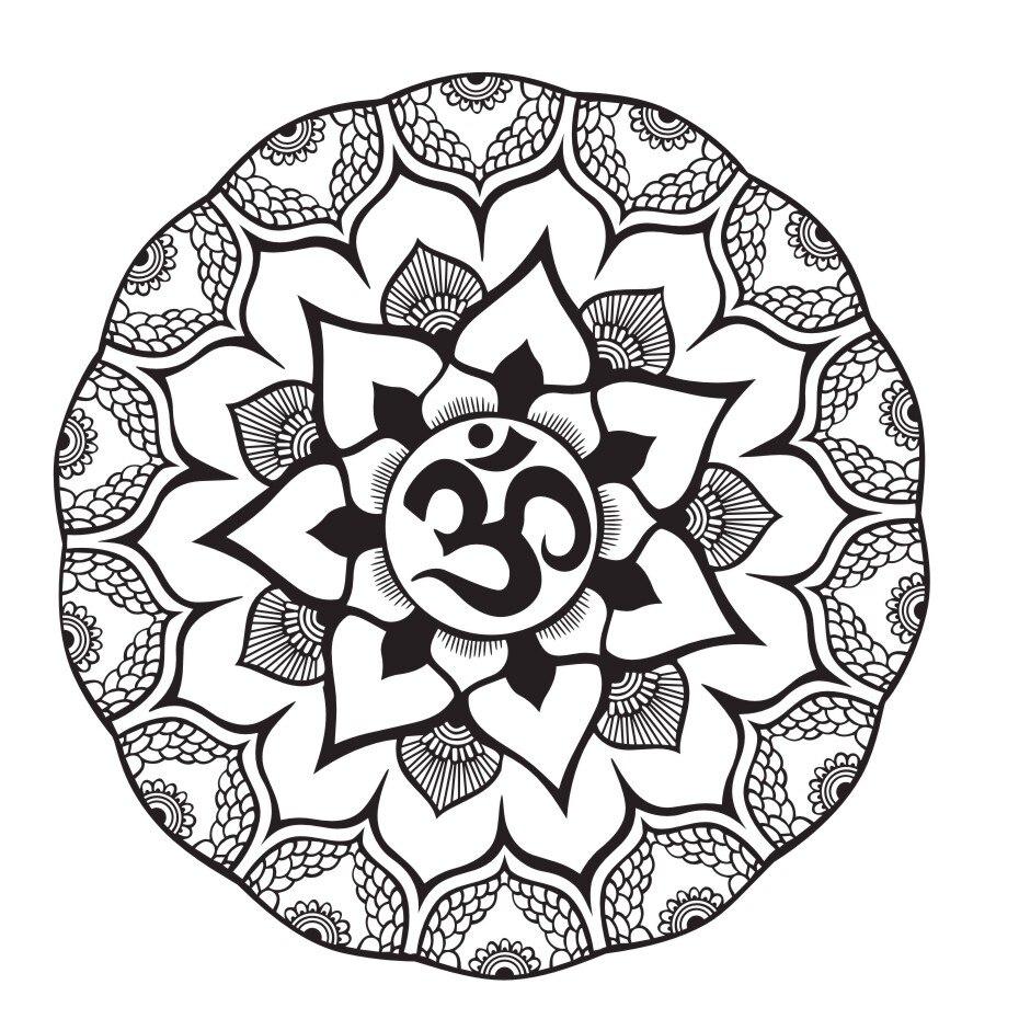 OM Zeichen Wandaufkleber Indische Lotus Mandala Wandtattoo Blume ...