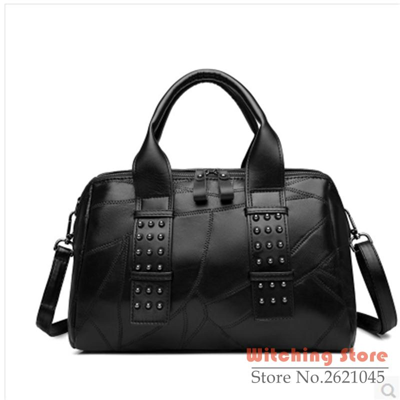 ФОТО Perfect# 2016 new leather fashion handbag western style rivet shoulder package FREE SHIPPING