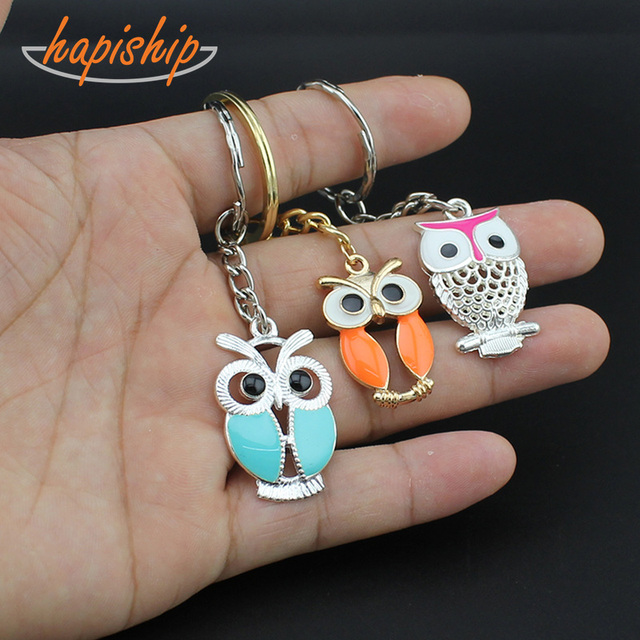 Hapiship 2018 New Women/Men's Fashion Handmade Silver Owl Key Chains Key Rings Alloy Charms Gifts YSDY213