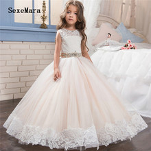 New Beige Puffy Tulle Girls Communion Dress White Lace with Ribbon Flower Girl Dress for Wedding Pageant Gown Custom Made Size 2019 new girls first communion dress white ivory lace puffy tulle o neck flower girls dresses for wedding with veil custom made