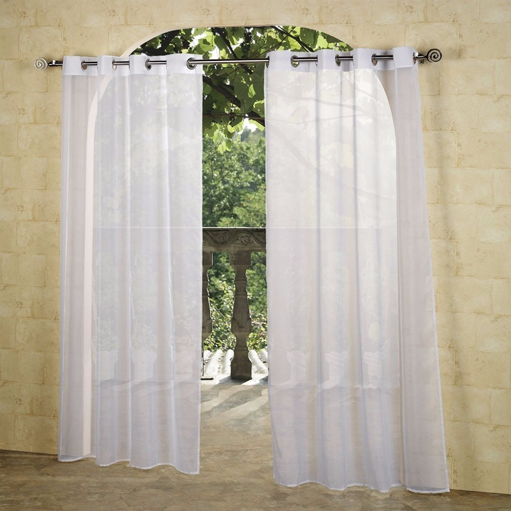 Outdoor Sheer Curtains 84 inches long - Hammock Grommets Top Outdoor Water Resistant Slivery Eyelet Top Sheer Drape for Patio