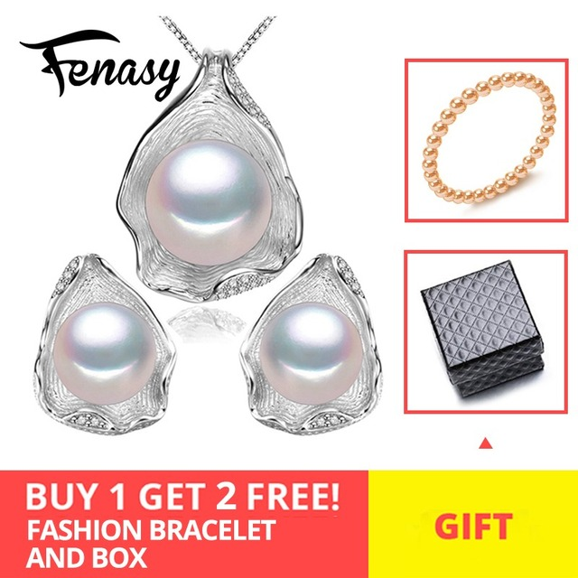FENASY S925 Sterling Silver CZ Freshwater Pearl Jewelry Sets Necklace Earrings Shell Design For Women Anniversary Birthday Gift