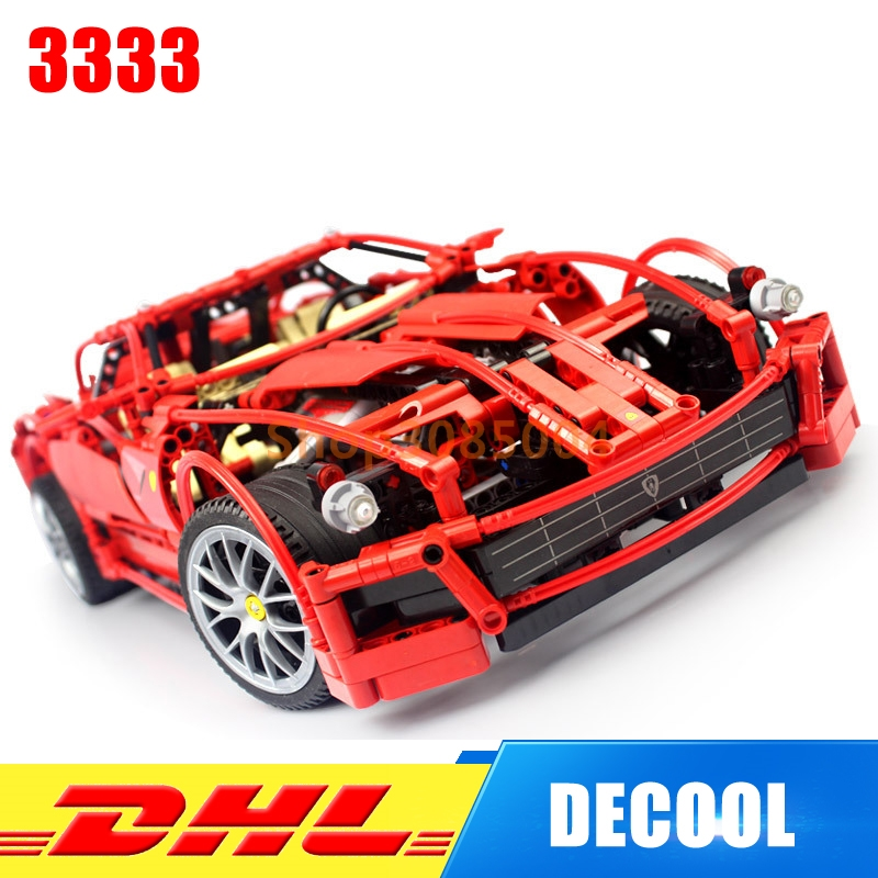 IN Stock DHL Decool 3333 Building Blocks Toy 1:10 Car Model Supercar Red Assemblage Racing Brain Game Gift Clone 8145 in stock new lepin 21009 fxx 1 17 toy building blocks 632pcs technic racing sports car supercar model boy gift compatible 8156