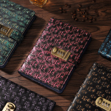 hot deal buy new leather notebook with lock code personal diary business thick notepad stationery customized office school supplies gift