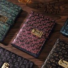 Купить онлайн Новые кожаные ноутбук с замком товара личный дневник Бизнес толщиной блокнот канцелярские настроены Офис Школьные принадлежности подарок