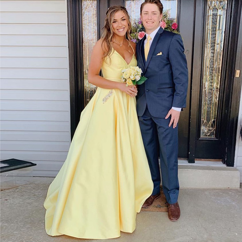 Simple A-line Long   Prom     Dress   With Pocket V-neck Yellow Satin Robe De Soiree Women Formal Party   Dress   Crisscross Back   Prom   Gown