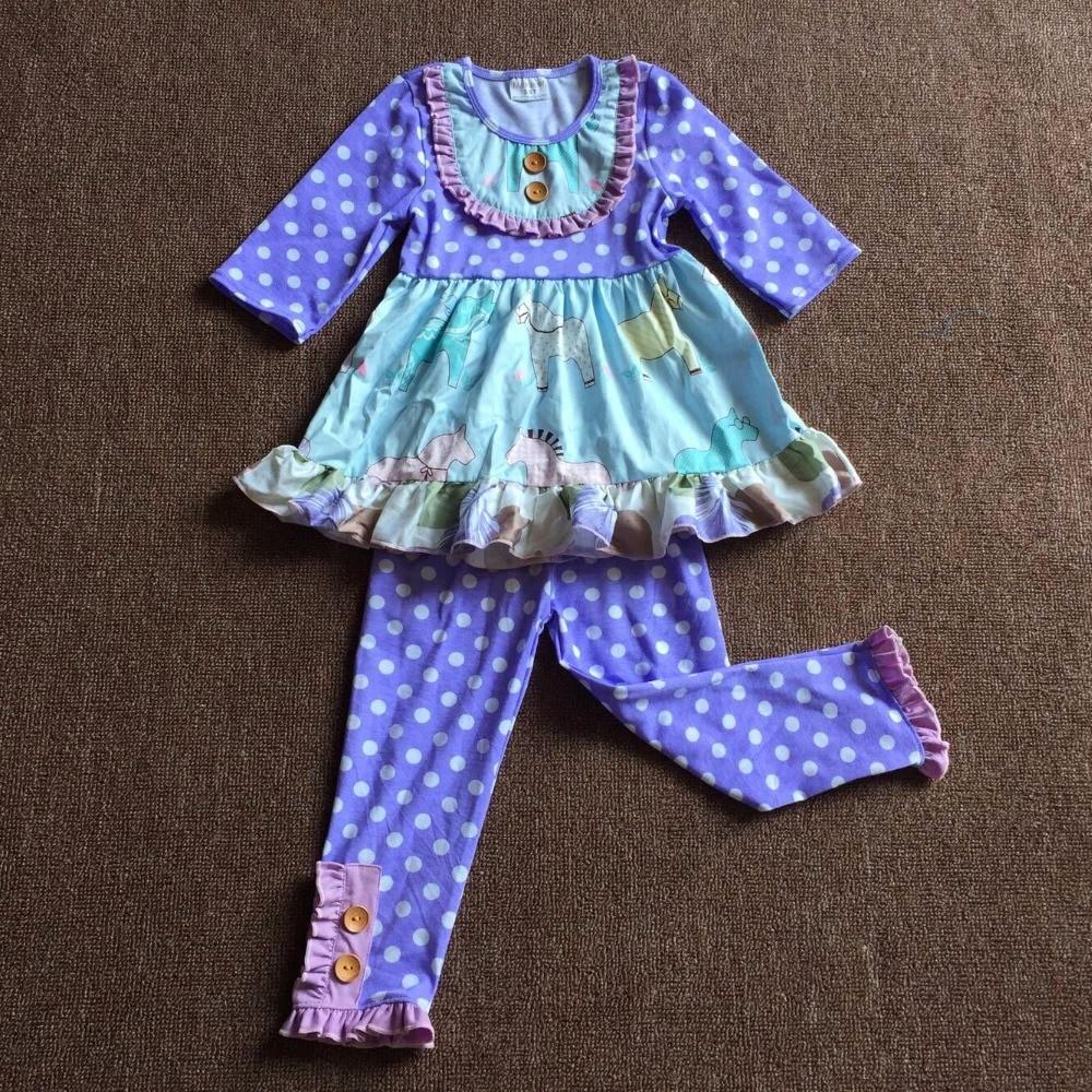 New Girl dress animal print dress set horse purple polka dot pink stripe Tight pants sets baby Girl dress layered flounce foldover polka dot bardot dress