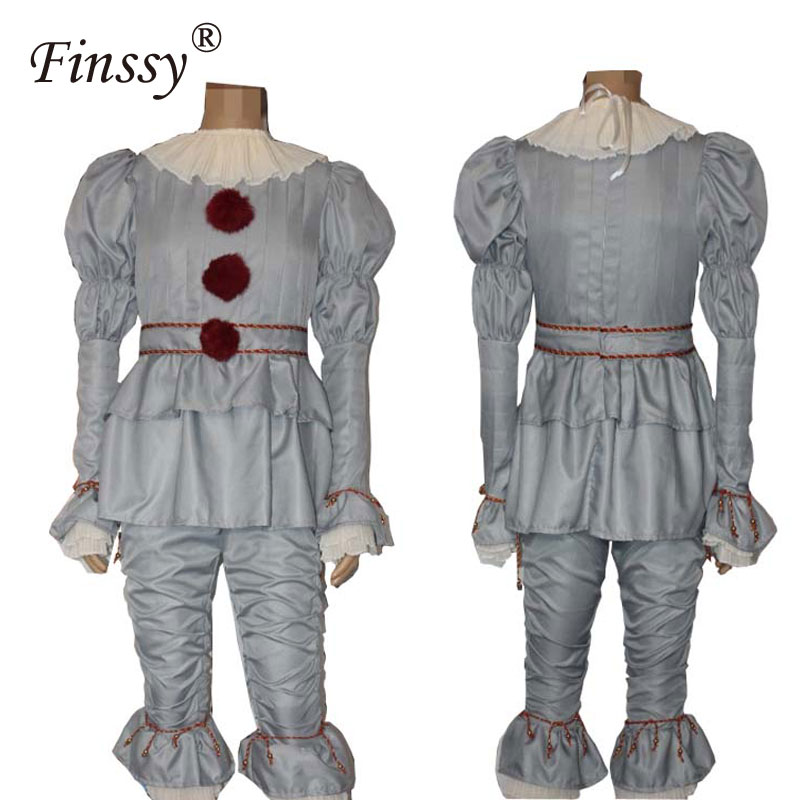 Movie Stephen King's It Pennywise Cosplay Costume for Men Halloween Costume Scary Joker Suit Fancy Masquerade Party Prop