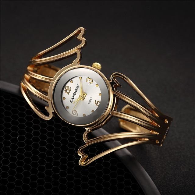 2018 New Fashion Wings Design Bracelet Watch Full Steel Quartz Watch Women Cuff Bangle Watches Relojes Para Mujer