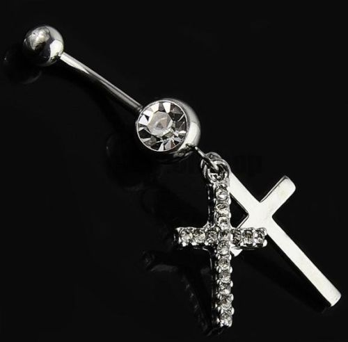 New Arrive Double Cross Belly Button Ring Fashion Women -1458
