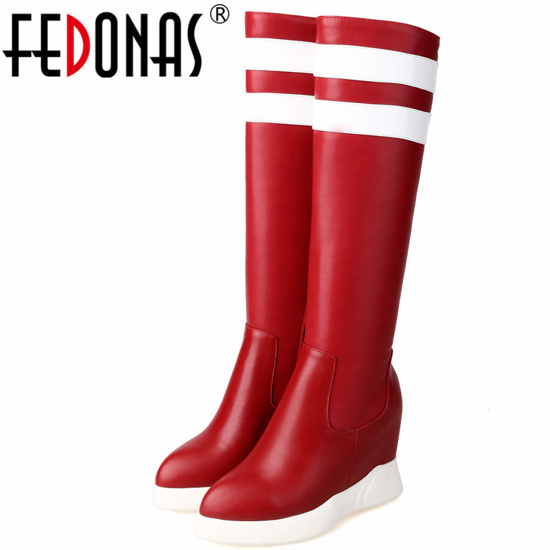 FEDONAS Fashion Brand Women Knee High Boots Wedges High Heels Pointed Toe Long Autumn Winter Ladies Shoes Woman Long Winter BootFEDONAS Fashion Brand Women Knee High Boots Wedges High Heels Pointed Toe Long Autumn Winter Ladies Shoes Woman Long Winter Boot