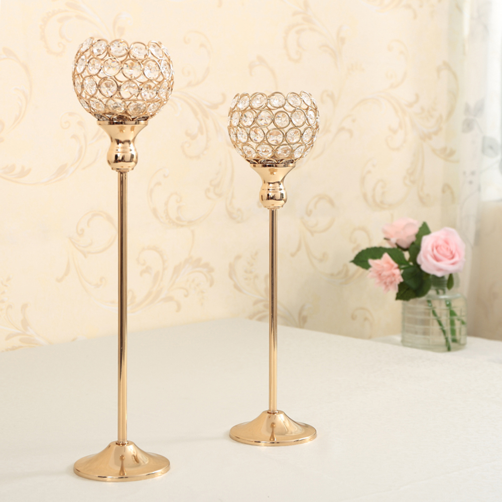 Crystal Candle Holder Set Metal Candlestick Votive Candle Lantern ...
