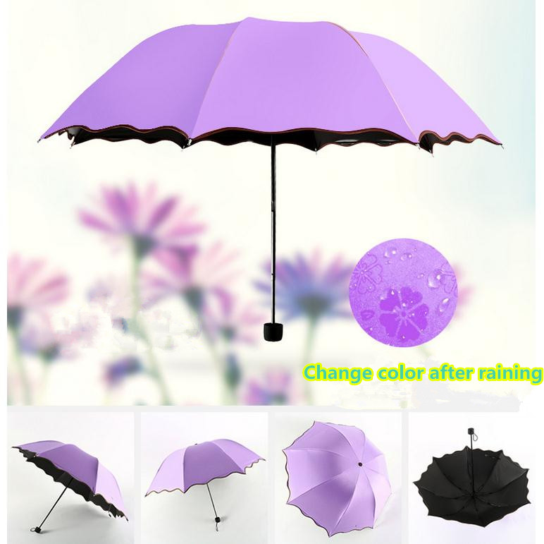 Three Folding UV-Protection Sun/Rain Travel Umbrellas Magic Changing Color After Water Gift for Lady Girlfriend