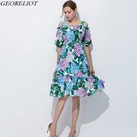 패션 오프 어깨 여름 드레스 여성 2017 새로운 디자이너 빈티