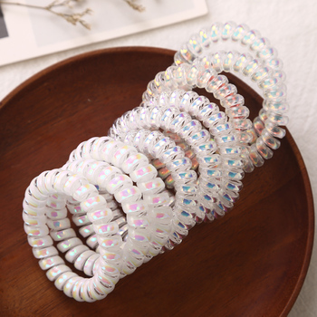 NEW Shining Colorful Women's Scrunchies Telephone Wire Line Hair Rubber Bands Elastic Hairbands Rope for girls Hair Accessories 1 pcs new simple hair scrunchies flower beads double line elastic hair bands candy color lovely hair rope hair accessories girls