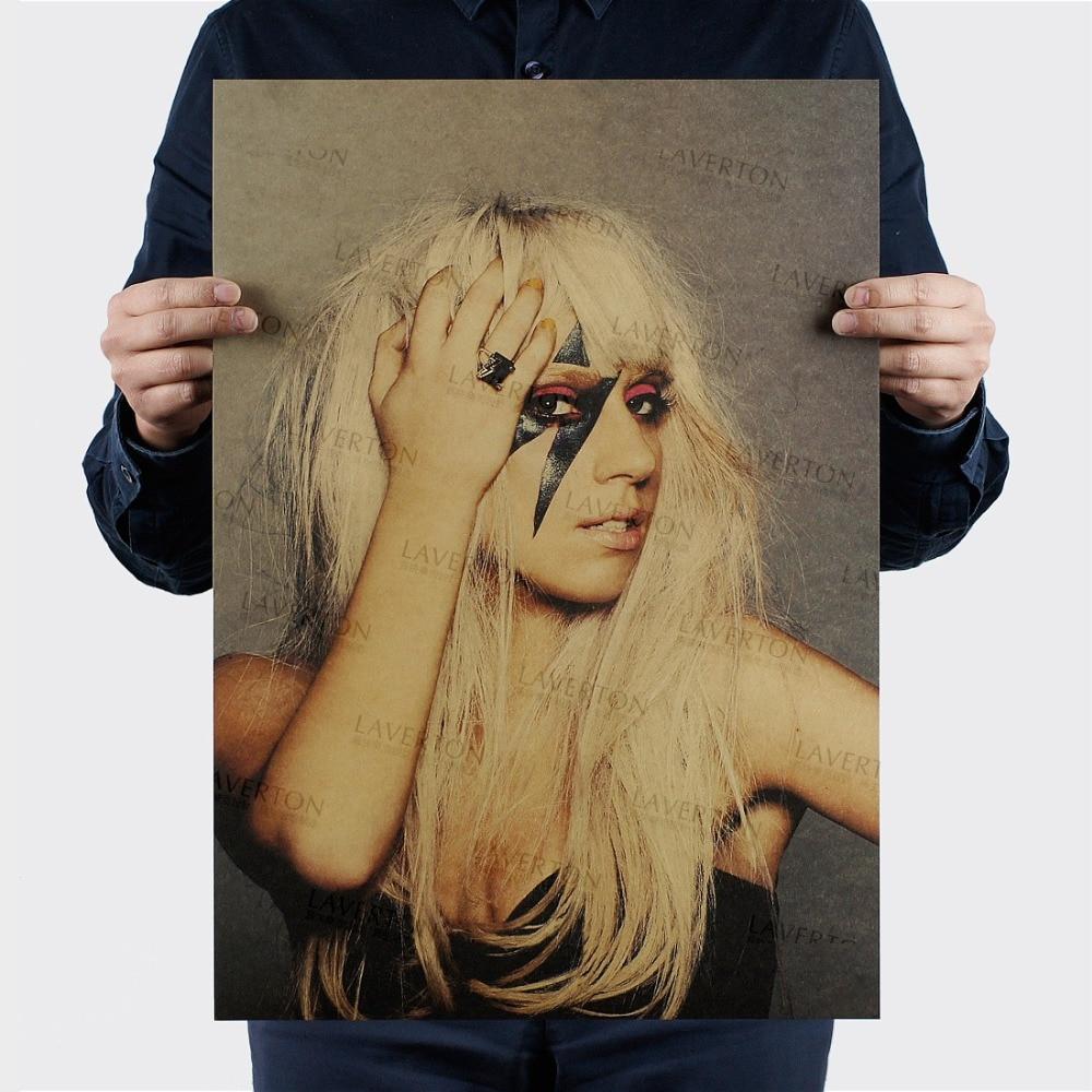 Lady Gaga lady quack / retro kraft paper poster / vintage posters bar decorative painting /51x35.5cm