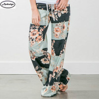 Women Fashion Bandage Loose Wide Leg Pants Floral Printed Casual Long Trousers
