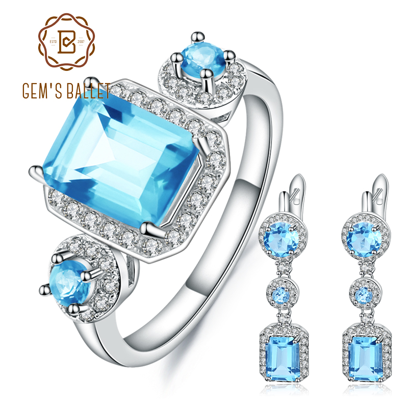 GEM S BALLET 9 55Ct Natural Swiss Blue Topaz Vintage Jewelry Set 925 Sterling Silver Earrings