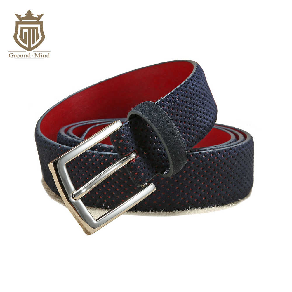 Baru Fashion Pria Kulit Suede Belt Pin Gesper Hollow-Out Dot Desainer Kulit Sapi Gaya Kasual 2 Warna (Navy/Kuning)
