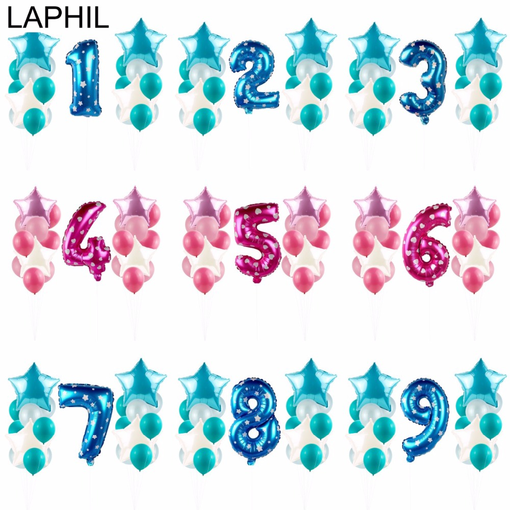 LAPHIL 25pcs Baby Boy Girl Birthday Balloons 1 2 3 4 5 6 7 8 9 10 Years Baby 1st Birthday Party Decorations Kids Baby Shower