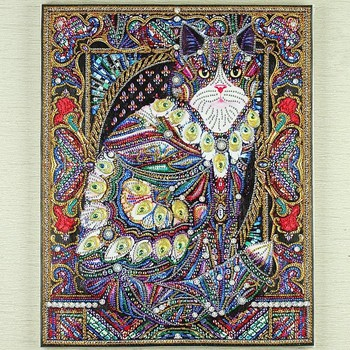 Huacan Diamond Painting Cat 5d Diy Diamond Embroidery Animal Partial Round Drill Special Shaped Diamond Mosaic Painting 40x50cm 1