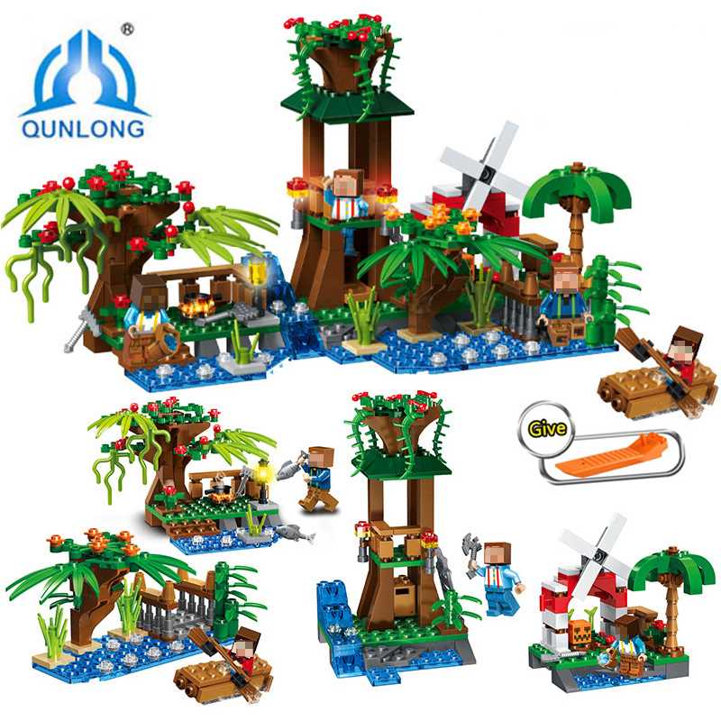Qunlong 0525 Mine World Pavilion Windmill 4 in 1 Building Blocks DIY Children Educational Toys Compatible Legoe Minecrafted City loz mini diamond block world famous architecture financial center swfc shangha china city nanoblock model brick educational toys