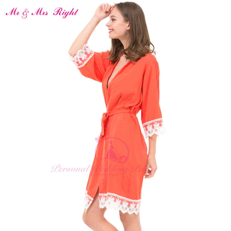89431f6cd0 ... Sexy Large Size Cotton Night Kimono Robe Lace Bathrobe Perfect Wedding  Bride Bridesmaid Robes Dressing Gown ...