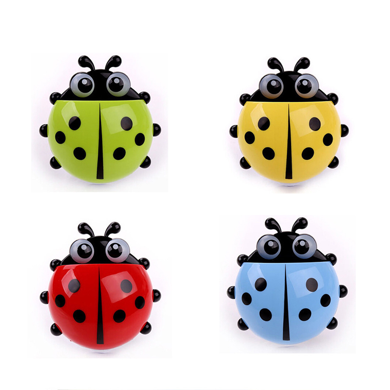 New Funny Cartoon Yellow / Red / Blue / Green Toothbrush Holder Suction Cup Hook Cute Ladybug, Cute Multicolor Storage Rack image